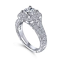 Cornelia 14k White Gold Round Halo Engagement Ring angle 3