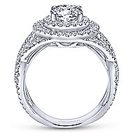 Cosmina 14k White Gold Round Double Halo Engagement Ring angle 2