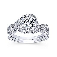 Courtney 14k White Gold Round Twisted Engagement Ring angle 4