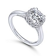 Cypress 14k White Gold Round Halo Engagement Ring