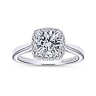Cypress 14k White Gold Round Halo Engagement Ring angle 5