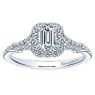Cyrus 14k White Gold Emerald Cut Halo Engagement Ring