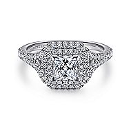 Dahlia 14k White Gold Princess Cut Double Halo Engagement Ring