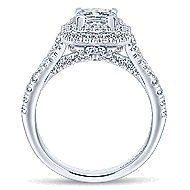 Dahlia 14k White Gold Princess Cut Double Halo Engagement Ring angle 2
