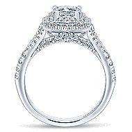 Dahlia 14k White Gold Princess Cut Double Halo Engagement Ring angle 2