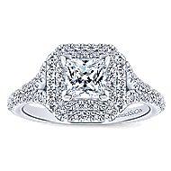 Dahlia 14k White Gold Princess Cut Double Halo Engagement Ring angle 5