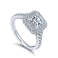 Daisy 14k White Gold Princess Cut Double Halo Engagement Ring angle 3