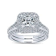 Daisy 14k White Gold Princess Cut Double Halo Engagement Ring