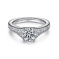 Dakota 14k White Gold Round Straight Engagement Ring angle 1