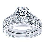 Dakota 14k White Gold Round Straight Engagement Ring angle 4