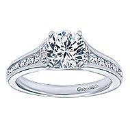 Dakota 14k White Gold Round Straight Engagement Ring angle 5