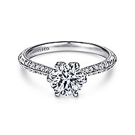 Dane Platinum Round Straight Engagement Ring angle 1