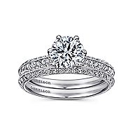 Dane Platinum Round Straight Engagement Ring angle 4