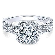 Danica 14k White Gold Round Halo Engagement Ring angle 1