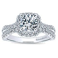 Danica 14k White Gold Round Halo Engagement Ring angle 5