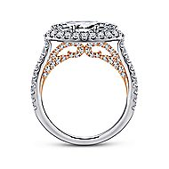 Daphne 18k White And Rose Gold Marquise  Halo Engagement Ring angle 2