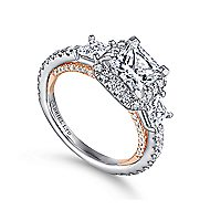 Darla 18k White And Rose Gold Princess Cut 3 Stones Halo Engagement Ring