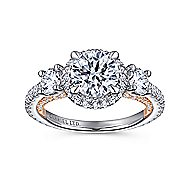 Darla 18k White And Rose Gold Round 3 Stones Halo Engagement Ring angle 5