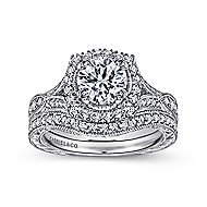 Darya 18k White Gold Round Halo Engagement Ring