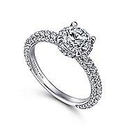 Dauphine 14k White Gold Round Straight Engagement Ring