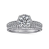 Dauphine 14k White Gold Round Straight Engagement Ring angle 4
