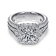 Dawn 18k White Gold Round Halo Engagement Ring angle 1