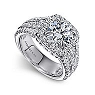 Dawn 18k White Gold Round Halo Engagement Ring angle 3