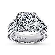 Dawn 18k White Gold Round Halo Engagement Ring angle 5