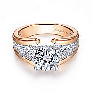 Dean 14k White And Rose Gold Round Straight Engagement Ring angle 1