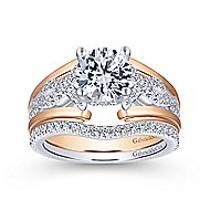 Dean 14k White And Rose Gold Round Straight Engagement Ring angle 4