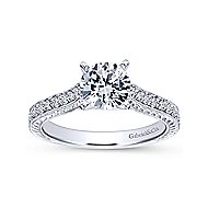 Dee 14k White Gold Round Straight Engagement Ring angle 5