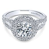 Deirdre 14k White Gold Round Double Halo Engagement Ring angle 1