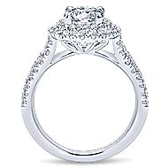 Deirdre 14k White Gold Round Double Halo Engagement Ring angle 2