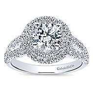 Deirdre 14k White Gold Round Double Halo Engagement Ring angle 5