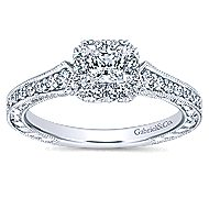 Delancey 14k White Gold Princess Cut Halo Engagement Ring angle 5