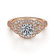 Delilah 14k Rose Gold Round Halo Engagement Ring