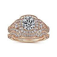Delilah 14k Rose Gold Round Halo Engagement Ring