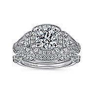 Delilah 14k White Gold Round Halo Engagement Ring angle 4