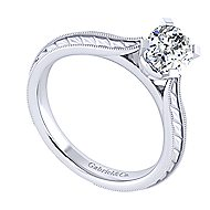 Della 14k White Gold Oval Solitaire Engagement Ring