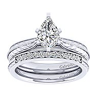Della 14k White Gold Pear Shape Solitaire Engagement Ring