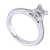Della 14k White Gold Princess Cut Solitaire Engagement Ring