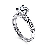 Della 14k White Gold Round Solitaire Engagement Ring angle 3