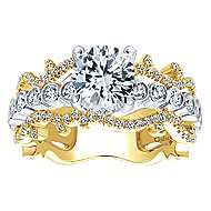 Delphine 18k Yellow And White Gold Round Free Form Engagement Ring