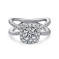 Delphinia 14k White Gold Round Halo Engagement Ring