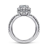 Delphinia 14k White Gold Round Halo Engagement Ring angle 2