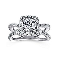 Delphinia 14k White Gold Round Halo Engagement Ring angle 5