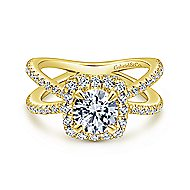 Delphinia 14k Yellow Gold Round Halo Engagement Ring angle 1