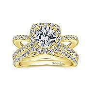 Delphinia 14k Yellow Gold Round Halo Engagement Ring angle 4