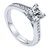 Denita 18k White Gold Princess Cut Straight Engagement Ring angle 3