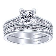 Denita 18k White Gold Princess Cut Straight Engagement Ring angle 4